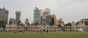 The Sultan Abdul Samad Building across the field in Merdeka Square.