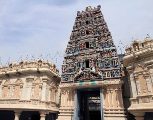 Entrance to Sri Mahamariamman Temple with gopuram - the ornate monumental tower.