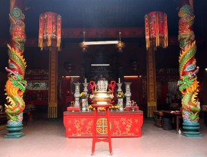 The main hall of Guan Di Temple, a Taoist temple in Chinatown.
