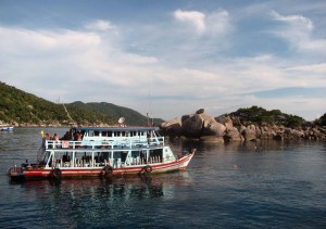 A SCUBA diving boat near Nangyuan Island.