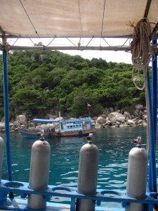 Air canisters set up on our boat near Nangyuan Island.
