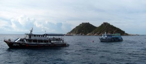 SCUBA boats above White Rock near Nangyuan Island.
