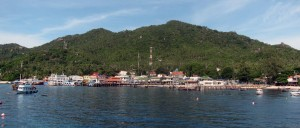 Approaching the pier at Mae Haad on Koh Tao.