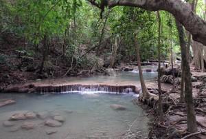 The stream of Erawan Falls.