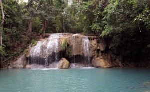 The second tier of Erawan Falls.