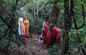 Dresses hung up in the jungle at Erawan Falls - there were a few spots with dresses and ribbons.