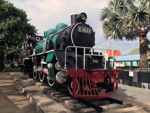 Steam locomotive on display at the Kwae River Railway Station.