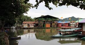 A floating restaurant on the Kwae Yai River in Kanchanaburi.
