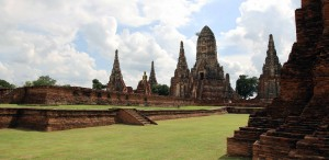 Wat Chaiwatthanaram seen from the east side of the comples (the ordination hall is in the foreground).