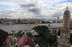 Southeastern view of Chao Phraya River from Wat Arun.