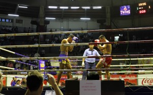 The first Muay Thai fight for the night.