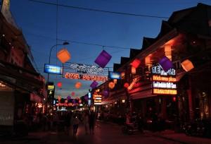 """""""Pub Street"""" in Siem Reap."""