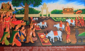 Relief painting in Wat Preah Prom Rath.