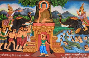 Buddha in a relif painting in Wat Preah Prom Rath.
