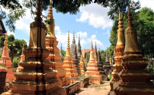 Cemetery full of pagodas for the deceased in Wat Bo.