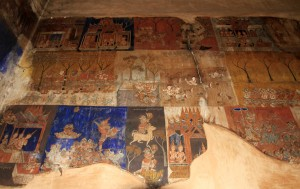 Frescoes in the main temple in Wat Bo.