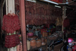 Cured dry sausages and fish being sold in the Old Market of Siem Reap.