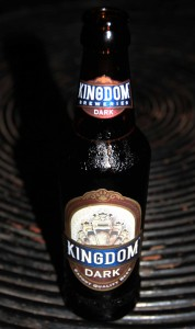 A bottle of Kingdom Dark beer; produced and bottled in Cambodia.