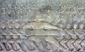 Bas-relief depicting the churning of the Ocean of Milk.