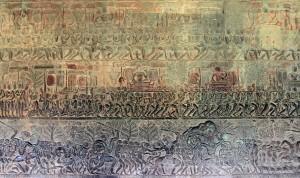 Bas-relief in Angkor Wat.
