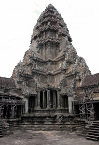 "The central tower on the ""temple mountain"" in Angkor Wat."