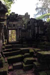 Inside some ruins in Angkor Thom.