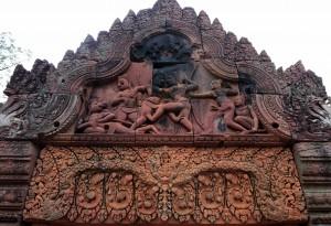 Sandstone lintel in Banteay Srei.