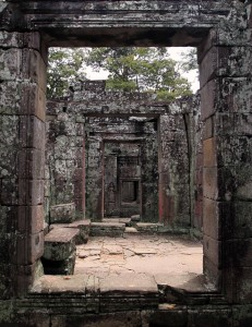 Looking through successive openings in the ruins of Banteay Kdei.
