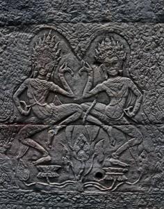 Two Apsaras dancing.