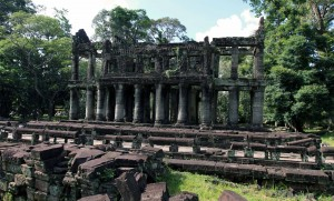 Two-storied columned building found in Preah Khan.