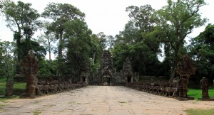A causeway leading to Preah Khan with sculptures on each side churning the Ocean of Milk.