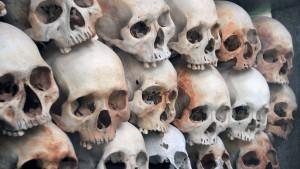 More skulls stacked inside the Memorial Stupa.