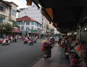 Marketplace and street in Ho Chi Minh City.