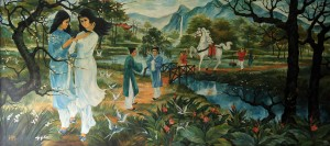 Painting of 'The Two Kieu Sisters' by Le Chanh on display in the Independence Palace.