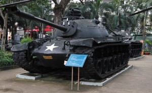United States Army M48-A3 tank left behind in Vietnam and now on display at the War Remnants Museum.