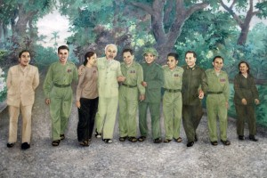Painting of Ho Chi Minh and his comrades.
