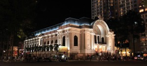 The Saigon Opera House at night.