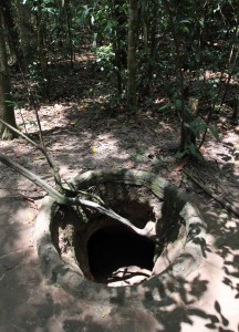 An original entrance to the Cu Chi Tunnels - the wood door has long since rotted away.