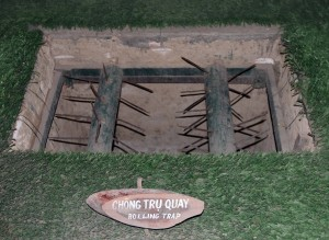 "Example of a ""rolling trap"" used by the Viet Cong."