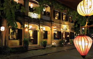A historic building in Hoi An at night.