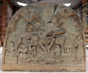 Relief on display inside one of the buildings in Mỹ Sơn.