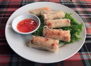 Ram cuon - deep fried spring rolls with Indian taro, carrots, shrimp, pork, potatoes, and spices.