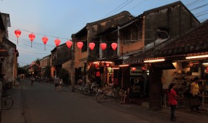 A street in Hoi An during dusk.