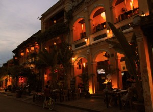 View of the old buildings in Hoi An at dusk.