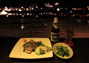 My dinner overlooking the Hoi An waterfront.