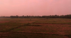 Sunset over a farm, just north of Hue.