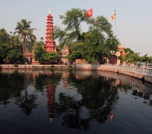 Trấn Quốc Pagoda on a small island in Hanoi's West Lake (now connected by a causeway).