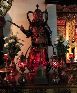 Warrior figurine in one of the halls in Trấn Quốc Pagoda.