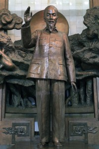 Statue of Uncle Ho in his museum.