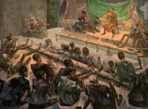 Painting of Vietnamese prisoners performing a play on the lunar new year.